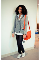 heather gray cotton madewell blazer - ivory oxfords Anthropologie shoes