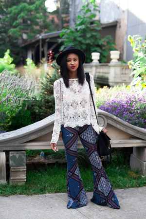 ivory crochet Filthy Magic top - blue printed flared PYLO USA pants