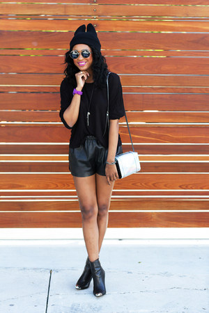 purple ice watch watch - black Zara boots - black Filthy Magic hat