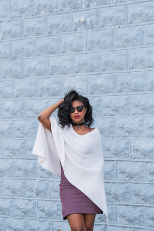 white poncho TART Collections jacket - light purple bodycon Missguided dress