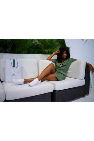 olive green shirt dress Lacoste dress - black ponte t by alexander wang bra