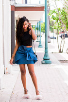 black crop top Finders Keepers top - blue knotted cmeo collective skirt
