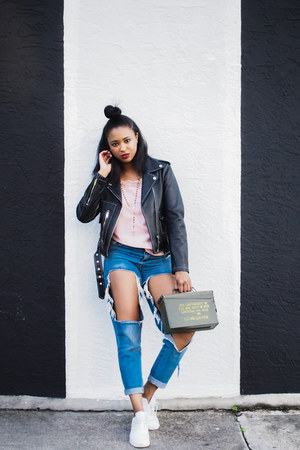air max nike sneakers - ripped Missguided jeans - leather Diesel jacket