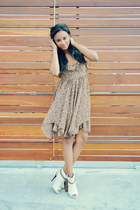 tan Shoppalu dress - off white linen booties Kathryn Amberleigh heels