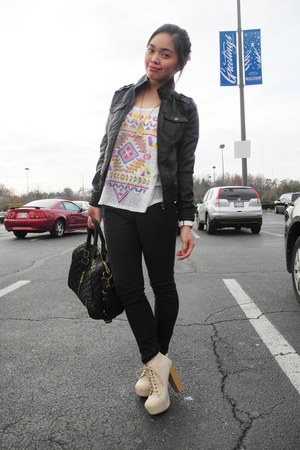 leather Bakers boots - faux leather Miss Sixty jacket - aztec Forever 21 top