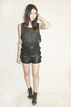 black zebra black moth glasses - black patched leather black moth dress