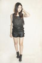 black zebra black moth glasses - black patched leather black moth dress