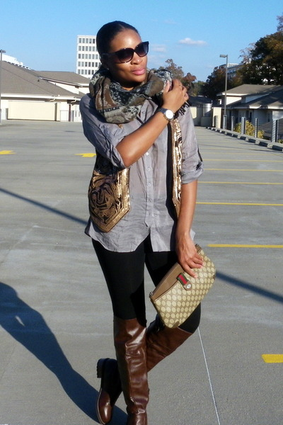 silver f21 blouse - dark brown boots - bronze H&M vest - black leggings