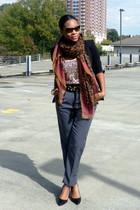 black Zara blazer - gray American Apparel pants