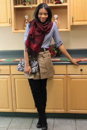 blue f21 shirt - black Fendi boots - crimson scarf