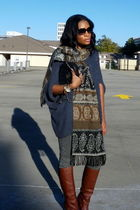 brown Dolce Vita boots - gray H&M pants - brown moms scarf - blue free people sw