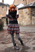 gray new look boots - gray River Island blazer - black handmade scarf - gray Riv