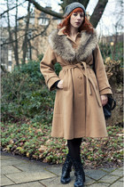 camel thrifted coat