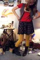 American Apparel t-shirt - forever 21 vest - Childrens Place skirt - shoes
