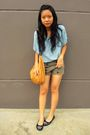 Blue-zara-blouse-brown-body-soul-shorts-black-charles-keith-shoes