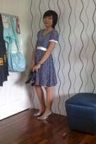 blue polkadot - silver heels