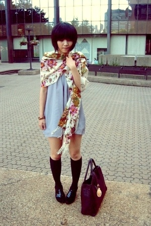 H&amp;M bag - oxford peeptoe shoes - self-customized dress - scarf