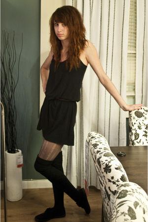 black Express dress - gray stockings - black Target socks - black Target shoes