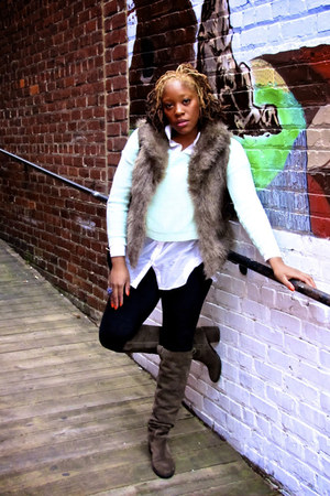 bcbgeneration boots - hm H&M sweater - hm blouse - macys vest