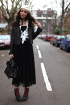 black Topshop boots - black storetscom skirt - black Mulberry bag - black Topsho