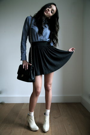 blue American Apparel shirt - gray PINE skirt - black Chanel purse - white Kande