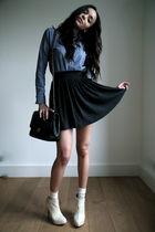 blue American Apparel shirt - gray PINE skirt - black Chanel purse - white Kande