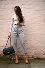 Silver-american-apparel-pants-black-chanel-purse