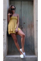 gold flea market dress - white flea market shoes
