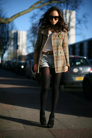 black suede Miu Miu shoes - green Topshop coat - sky blue vintage shorts - brown
