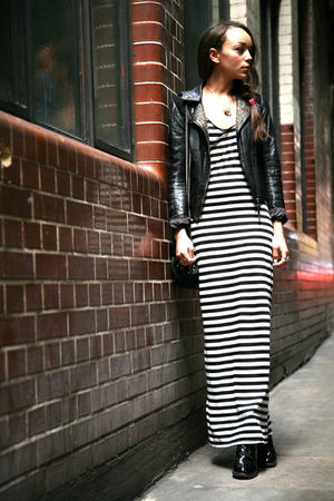 black Miss Selfridge dress - black Topshop boots - black Topshop jacket
