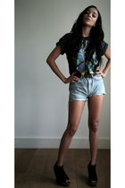 blue vintage shorts - black vintage t-shirt - black Jeffrey Campbell shoes