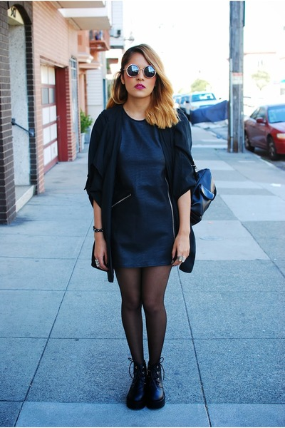 black Nasty Gal boots - black UNIF dress - black Nasty Gal jacket