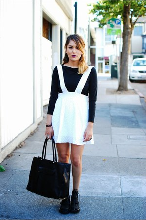 black Jeffrey Campbell boots - white Nasty Gal dress - black Rebecca Minkoff bag