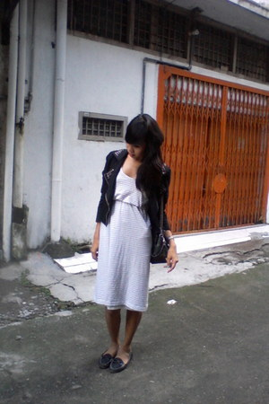 jacket - streps dress - loafers