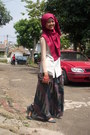 Ruby-red-diy-scarf-dark-brown-purse-teal-skirt-ivory-moms-made-vest