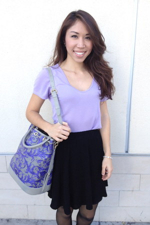 violet versace bag - periwinkle Zara t-shirt - black cotton on skirt