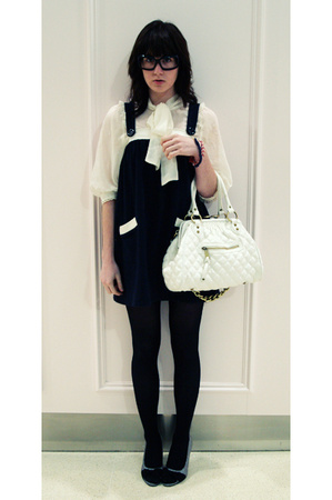 dress - olive des olive blouse - purse