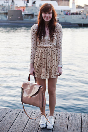 nude patent leather none bag - beige polka dot random asian dress