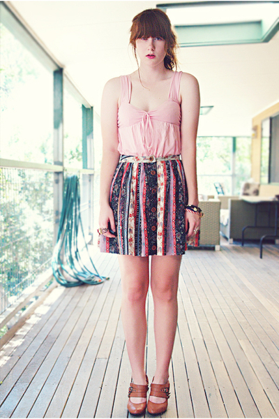 pink supre top - white Tempt skirt - brown Rivers shoes