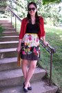 Trixxi-dress-straw-vintage-purse-red-forever-21-cardigan