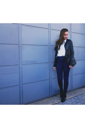 black faux leather Zara jacket - navy skinny jeans Lefties jeans