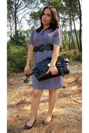black Local store shoes - blue vintage dress - black Ebay bag