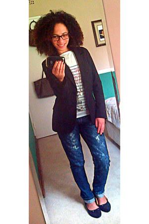 blue Levis jeans - black Zara blazer - white PROENZA SCHOULER t-shirt