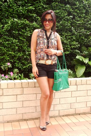 Temt blouse - green coach bag - black Zara shorts - DKNY sunglasses
