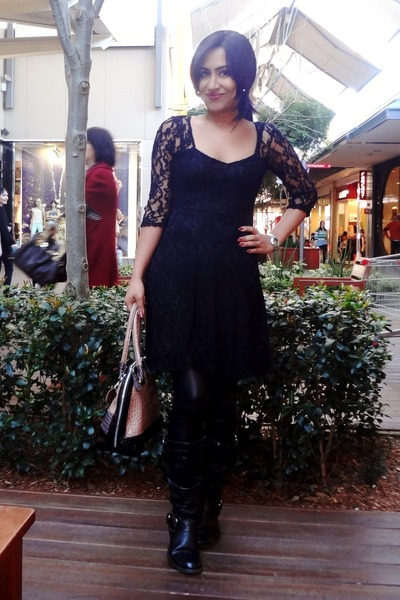 Black Nine West Boots Black Dotti Lace Dresses Mango Leggings