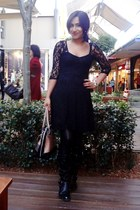 black Nine West boots - black Dotti Lace dress - Mango leggings - Guess glasses