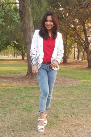 white Katies blazer - blue Mango jeans - red Marks & Spencer t-shirt