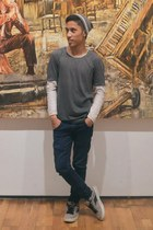 navy Cheap Monday jeans - purple Uniqlo shirt - heather gray Airwalk sneakers