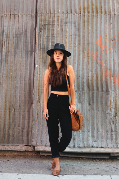 black Minnetonka hat - black brandy melville top - black vintage pants