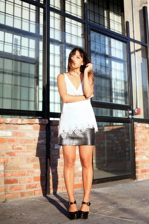 black In My Air skirt - off white laser cut silk Gypsy 05 top